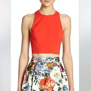 Alice & Olivia Blythe Red Silk Cropped Top